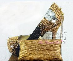 9e1745e7c6997d Gold and Black Funky Wedding Shoes with by HandmadeCrystalShoes