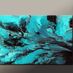 Abstract Canvas Art Painting Original 36x24 Modern Contemporary Turquoise Aqua & Black by Destiny Womack - dWo - Finding the Way