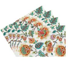 Raymond Waites Premium Quality Reversible Placemats - Set of 4 (Beige/Orange Flowers) - Placemat 14 in x 18 in Raymond Waites