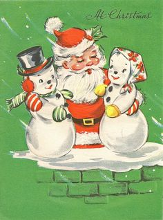 Vintage Christmas Card-Santa hugging it out with a snow couple