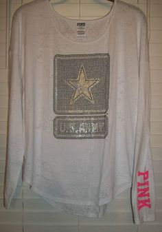 Victorias Secret U S Army LOVE PINK Bling LongSleeve Drapey Tee Size Medium