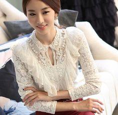 Casual Lace Round Neck Net Yarn Slim Long Sleeve T-Shirt – stylishpop Bohemian Blouses, Latest Fashion For Women, Blouse Designs, Blouses For Women, Korean Fashion, Ideias Fashion, Fashion Dresses, Fashion Fashion, Long Sleeve