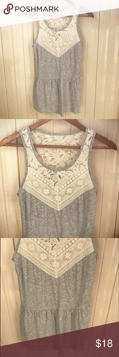 """Express Gray Cream Lace Boho Tunic Top Express Gray Cream Lace Boho Tunic Top. Size XS. Length measures 24"""". Excellent preowned condition. Express Tops Tank Tops"""