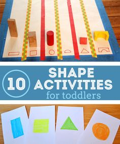 Toddlers love these 10 hands on shape activities that will make it hip to be square! Toddlers will have fun learning shapes in a hands on way. Preschool Learning, In Kindergarten, Preschool Activities, Teaching Kids, Kids Learning, Shape Activities, Preschool Shapes, Preschool Colors, Indoor Activities