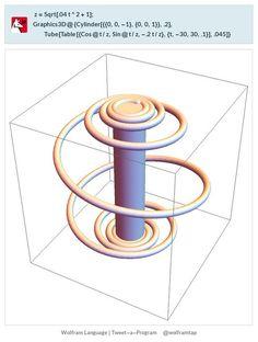 z=Sqrt[.04t^2+1];Graphics3D@{Cylinder[{{0,0,-1},{0,0,1}},.2], Tube[Table[{Cos@t/z,Sin@t/z,-.2t/z},{t,-30,30,.1}],.045]}