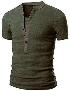 Abetteric Mens Army Single-Breasted Pure Color Skinny Tshirt Top Shirt