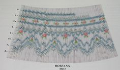 Smocking plate with geometric design. 8 rows of smocking on a yoke. Smocking Plates, Smocking Patterns, Dress Patterns, Smocked Baby Dresses, Smocked Clothing, Sewing Crafts, Sewing Projects, Smocking Tutorial, Farmhouse Fabric