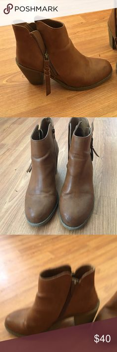 Super cute brown ankle booties Brown ankle booties with a small heel, only worn a few times in great condition! American Rag Shoes Ankle Boots & Booties