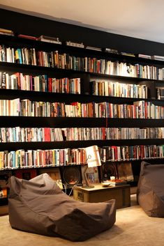 Trendy home library black bookcases