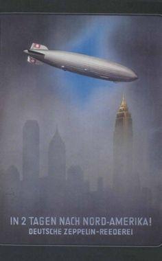 Grafik - die Hindenburg über New York