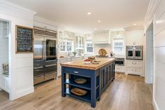 Kitchen with Blue Island - Residence Bunch Inside Design Concepts Butcher Block Kitchen, Butcher Block Island, Blue Kitchen Island, White Kitchen Cabinets, Beach House Kitchens, Home Kitchens, New Kitchen, Kitchen Decor, Kitchen Ideas