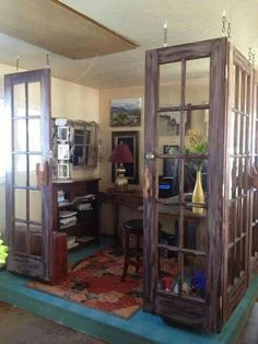 Great closed off section for a study room or reading room with repurposed old doors