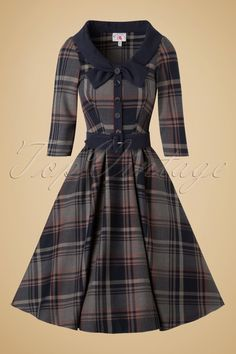 Miss Candyfloss Navy Tartan Swing Dress 102 39 19340 20161025 Vintage Outfits, Vintage Dresses, Retro Fashion, Vintage Fashion, Womens Fashion, Dress Outfits, Fashion Dresses, Fashion Clothes, Marine Uniform