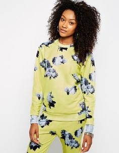 Enlarge Hype Oversized Sweatshirt With Washed Out Floral Print Co-Ord