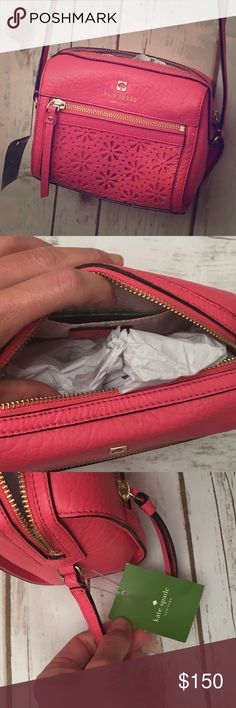 "Kate Spade Perri Lane Crossbody bag NWT KATE SPADE PERRI LANE LOOLOO LEATHER CROSSBODY SHOULDER BAG WKRU 3190  * soft pebbled cowhide leather  * color: peony (dark pink)  * zip top closure  * 14k gold plated hardware  * exterior front zipper pocket  * interior custom woven signature lining with slip pocket  * shoulder strap with approximately 19"" drop  * dust bag not included   100% Authentic kate spade Bags Crossbody Bags"