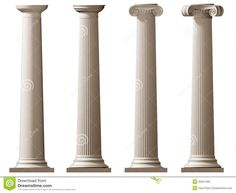 Roman Doric and Ionic columns. Isolated illustration of Roman Doric and Ionic co ,