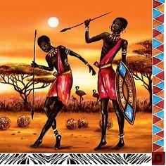 Items op Etsy die op Set of Africa Massai perfect for decoupage, decoupage under glass, mixed media, scrapbooking and other art and crafts lijken African Wall Art, African Artwork, African Art Paintings, Black Women Art, Black Art, Afrique Art, Foto Poster, African Theme, Painting Art