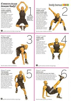 6 moves to an insane body; insanity workouts; do each one 6 times for 36 minutes of cardio