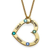 18ct Gold Plated Birthstone Heart Necklace | MyNameNecklace