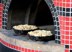 Chef Bart's Strawberry and Rhubarb Cobbler recipe is a perfect desert for spring and summer nights that you can easily make in your wood fired pizza oven.