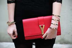 Get the trendiest Clutch of the season! The Saint Laurent Classic Y Red  Clutch is a top 10 member favorite on Tradesy. 69e60274a631
