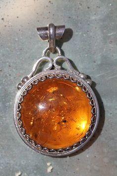 Large Vintage 925 Sterling Silver Baltic Honey Amber Pendant | eBay