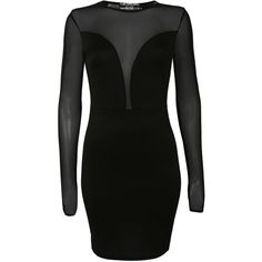 Pilot Long Sleeve Mesh Detail Bodycon Dress ($28) ❤ liked on Polyvore featuring dresses, black, mesh panel dress, body con dress, long sleeve little black dress, lbd dress and body conscious dress