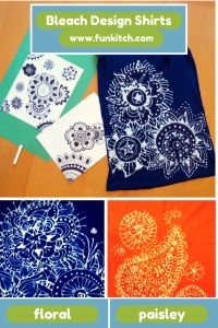 Fun and artsy T-shirt design using CLOROX bleach pens.    #craftsy #artsy #funkitchgirl  For detailed DIY instructions and video tutorial, go to www.funkitch.com