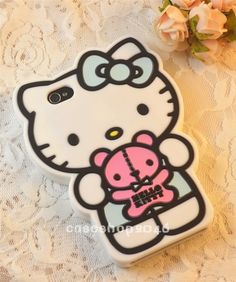 mint Cute Bear Hello Kitty silicone Cover case protector For iPhone 4S 4