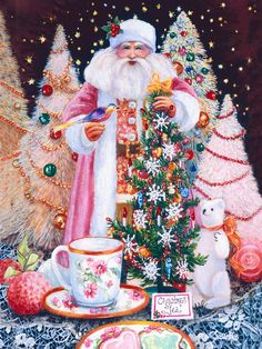 My painting called Christmas Tea. I love the pink Santa!