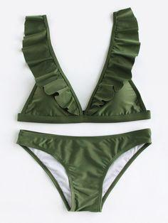 Ruffle Trim Plunge Neckline Bikini Set