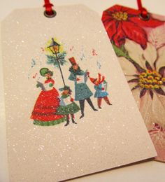 Set of 4 Vintage Retro Glitter Tags by XmasMuse on Etsy, $8.00