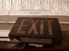 Vintage Looking Exit Sign Sepia Black and White by ManyMilesofLove, $25.00