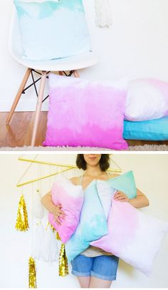 DIY Ombre Dip Dye Throw Pillows | DIY Home Decor Ideas on a Budget | DIY Projects for the Home Dollar Store