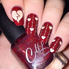 Colors by llarowe The Mighty Red Baron. Heart stamping with Born Pretty Store BP-61 plate. Photo from therapywithnailpolish on Instagram.