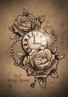 What does pocket watch tattoo mean? We have pocket watch tattoo ideas, designs, symbolism and we explain the meaning behind the tattoo. Bild Tattoos, Neue Tattoos, Tattoo Drawings, Body Art Tattoos, Tatoos, Arm Tattoo, Sleeve Tattoos, Tattoo Flash, Clock Tattoo Design