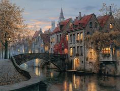 You know that feeling when you see an image so appealing to your senses that you just want to climb inside right then and there? That's what the art of Russian painter Evgeny Lushpin does. I want to be standing on that rooftop at twilight; with the warm glow of home on my back and the cool evening b