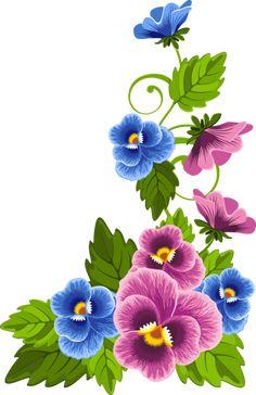 "Photo from album ""Анютины глазки"" on Yandex. Pansy Tattoo, Art Deco Colors, Flower Alphabet, Graffiti Wallpaper, Art Corner, Flower Clipart, Arte Floral, Rock Crafts, Floral Border"