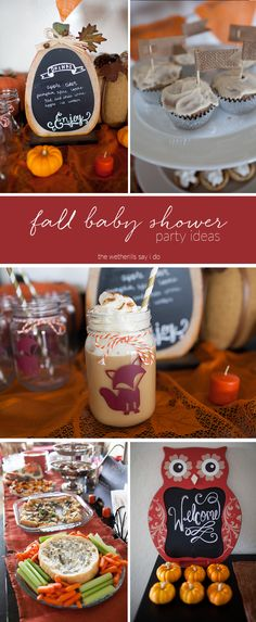 A full list of ideas for fall baby showers! Fall themed baby shower menu and ideas.