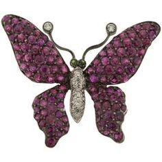 Ruby and Diamond Butterfly Brooch