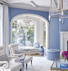 Periwinkle Room, Home Living Room, Living Room Decor, Home Inside Design, Cottage Style House Plans, Shingle Style Homes, White Cottage, Home Decor Inspiration, Design Inspiration