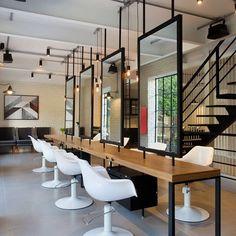 Barber Shop Interior, Barber Shop Decor, Hair Salon Interior, Salon Interior Design, Salon Design, Home Beauty Salon, Beauty Salon Decor, Makeup Studio Decor, Salon Mirrors