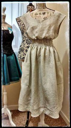 Vestido Vintage de verano con cintura fruncida en punto smock Burda Style