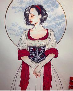 Looks like Snow White! Disney Illustration, Illustrations, Disney Doodles, Medieval Princess, Art Folder, Princess Drawings, Fairytale Art, Disney Fan Art, Character Design Inspiration