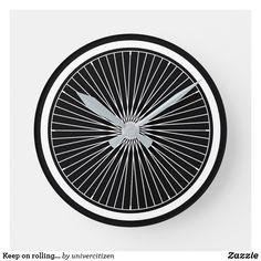 Shop Keep on rolling. Bike wheel clock created by univercitizen. Bike Wheel, Keep On, Rolls, Clock, Indoor, Display, Prints, Clocks, Bicycle Wheel