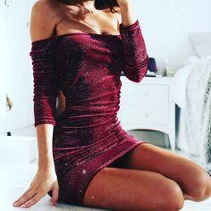 VALERIE CUT OUT SIDES GLITTER VELOUR BARDOT DRESS IN WINE