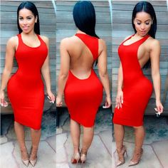 Top Selling Solid Color Back Side Hollow Out Summer Sexy Nightclub Dress
