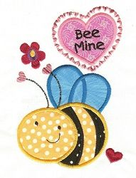 Bee Mine Applique - 2 Sizes! | Valentine's Day | Machine Embroidery Designs | SWAKembroidery.com Designs by Juju