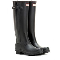 Hunter Original Tall Wellington Boots ($180) ❤ liked on Polyvore featuring shoes, boots, hunter, tall boots, zapatos, black, tall rain boots, tall knee high boots, rubber boots and tall rubber boots