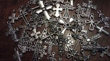 CRoSS CRoSSeS LoT ~ 25 PiEcE LoT ~ MiXeD StyLeS SiLvER ChArMs PeNdaNTs ReLiGioN